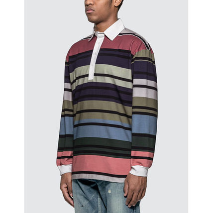 Stripes Long Sleeves Cotton Designers Polos
