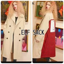 ELF SACK Other Check Patterns Casual Style Blended Fabrics Long