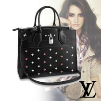 Louis Vuitton CITY STEAMER 2WAY Leather Elegant Style Handbags