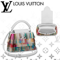 Louis Vuitton CAPUCINES Blended Fabrics 3WAY Leather Fringes Elegant Style Handbags