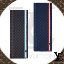 Louis Vuitton DAMIER Wool Blended Fabrics Fringes Scarves