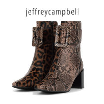 Jeffrey Campbell Leopard Patterns Casual Style Leather Ankle & Booties Boots