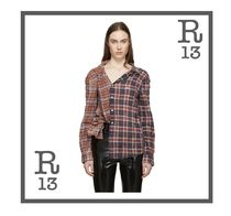 R13 Other Check Patterns Casual Style Long Sleeves Cotton
