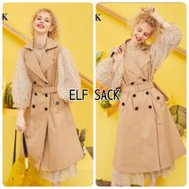 ELF SACK Blended Fabrics Plain Long Trench Coats