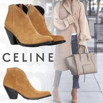 CELINE Casual Style Street Style Plain Leather High Heel Boots