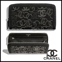CHANEL Blended Fabrics Studded Plain Long Wallets