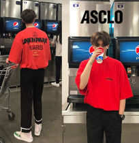ASCLO Cotton Short Sleeves Oversized Logo T-Shirts