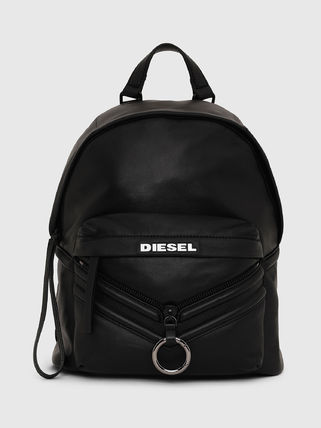 Street Style A4 Plain Leather Backpacks