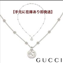 GUCCI Flower Chain Silver Office Style Necklaces & Pendants