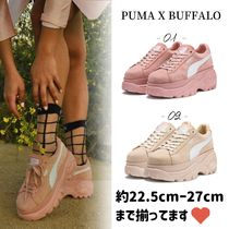 PUMA SUEDE Platform Round Toe Lace-up Casual Style Suede Street Style