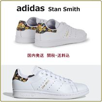 adidas STAN SMITH Flower Patterns Round Toe Rubber Sole Casual Style