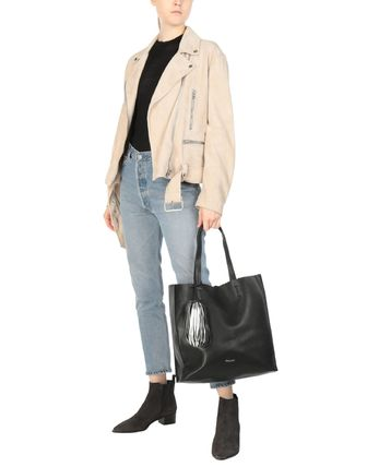 Casual Style Faux Fur Plain Handbags