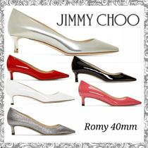 Jimmy Choo Plain Leather Elegant Style Kitten Heel Pumps & Mules