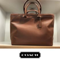 Coach A4 Plain Leather Logo Totes