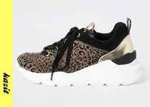 River Island Leopard Patterns Casual Style Faux Fur Low-Top Sneakers