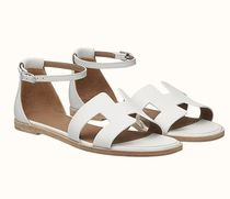 HERMES Wedge Open Toe Casual Style Street Style Plain Leather