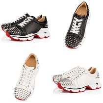 Christian Louboutin Spike Sock Platform Studded Plain Leather Handmade Elegant Style