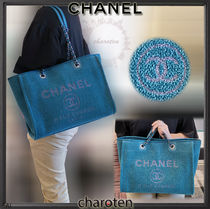 CHANEL DEAUVILLE Unisex Canvas A4 2WAY Chain Plain Totes