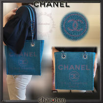 CHANEL DEAUVILLE Casual Style Canvas 2WAY Bi-color Chain Plain Totes