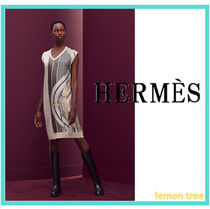 HERMES Wool Blended Fabrics Sleeveless V-Neck Medium Elegant Style