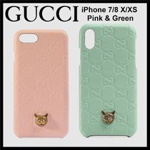GUCCI Gucci Signature Leather GUCCI Exclusive Cat Signature Leather iPhone 7/8 & X/XS Case