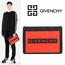 GIVENCHY Unisex Canvas Blended Fabrics Street Style Plain Clutches