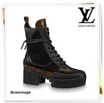 Louis Vuitton MONOGRAM Rubber Sole Casual Style Suede Ankle & Booties Boots
