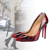 Christian Louboutin Pigalle Follies Pin Heels Python Elegant Style Pointed Toe Pumps & Mules