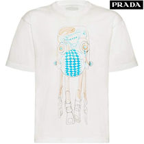 PRADA Crew Neck Cotton Short Sleeves Crew Neck T-Shirts