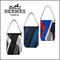 HERMES Blended Fabrics Street Style A4 Leather