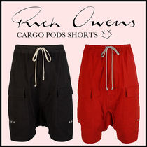 RICK OWENS Plain Cotton Cargo Shorts