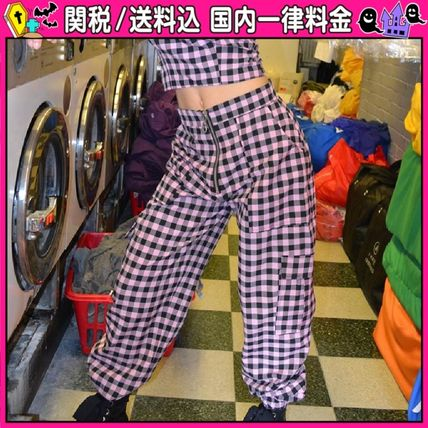Gingham Casual Style Long Pants