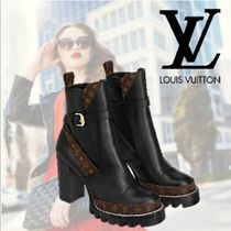 Louis Vuitton Monogram Round Toe Casual Style Blended Fabrics Leather