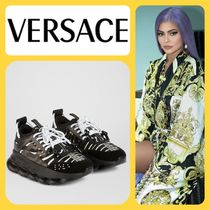 VERSACE Round Toe Rubber Sole Lace-up Low-Top Sneakers