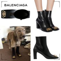BALENCIAGA Square Toe Plain Leather Ankle & Booties Boots