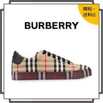 Burberry Other Check Patterns Round Toe Rubber Sole Lace-up