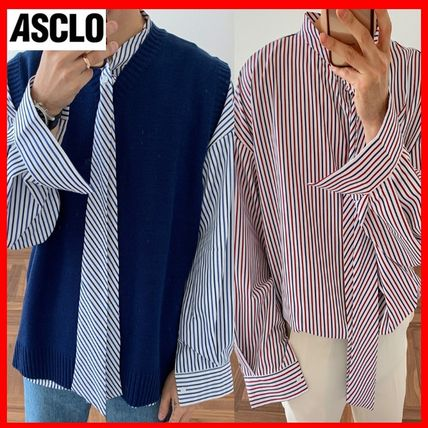ASCLO Shirts Stripes Street Style Long Sleeves Oversized Shirts