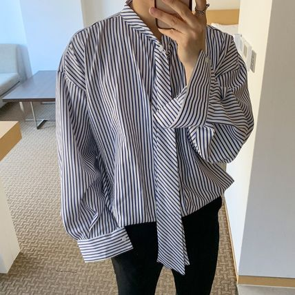 ASCLO Shirts Stripes Street Style Long Sleeves Oversized Shirts 8