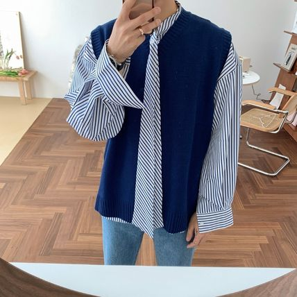 ASCLO Shirts Stripes Street Style Long Sleeves Oversized Shirts 15