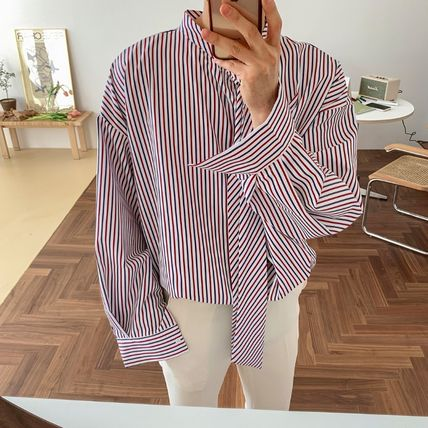 ASCLO Shirts Stripes Street Style Long Sleeves Oversized Shirts 16