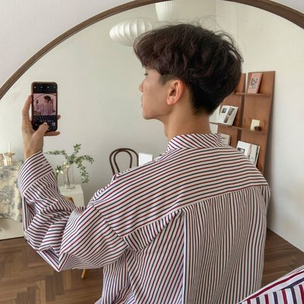 ASCLO Shirts Stripes Street Style Long Sleeves Oversized Shirts 17
