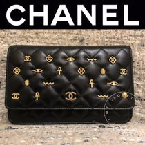 CHANEL MATELASSE Flower Patterns Lambskin Blended Fabrics Studded