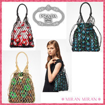 PRADA Flower Patterns Casual Style Totes