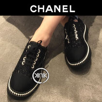 CHANEL Platform Plain Toe Lace-up Tweed Blended Fabrics Plain
