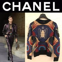 CHANEL ICON Crew Neck Cashmere Street Style Long Sleeves Medium Handmade