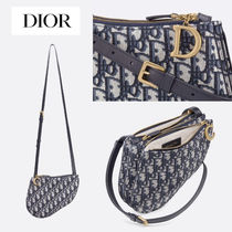 Christian Dior Canvas Blended Fabrics Plain Shoulder Bags