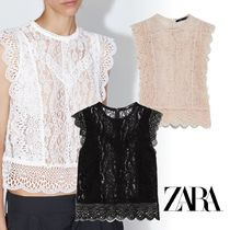 ZARA Flower Patterns Lace-up Sleeveless Lace Tanks & Camisoles