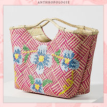 Anthropologie Blended Fabrics Collaboration Plain Straw Bags