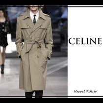 CELINE Wool Plain Long Trench Coats