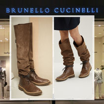 BRUNELLO CUCINELLI Round Toe Rubber Sole Casual Style Suede Plain Boots Boots